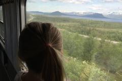 När vi närmar oss Abisko blir Klara stående i tågfönstret och tittar på de snöklädda fjällen